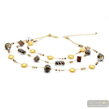 GOLD LONG NECKLACE MURANO COLORFUL GLASS BROWN