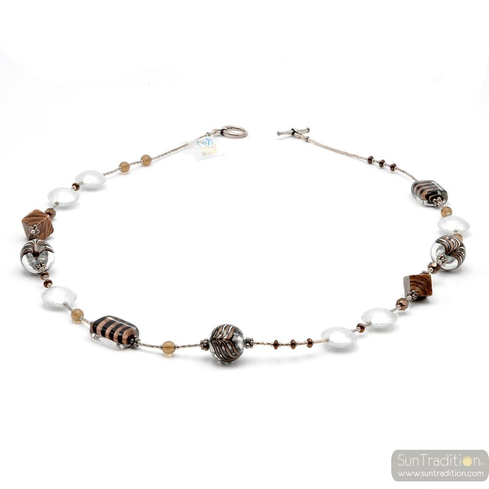 Fenicio silver long - Long silver motley brown Murano glass necklace real venitian jewel Italy