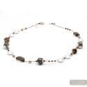 Fenicio silver long - Long silver motley brown Murano glass necklace real venitian jewel Italy
