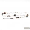 LONG SILVER NECKLACE MURANO GLASS MOTLEY BROWN