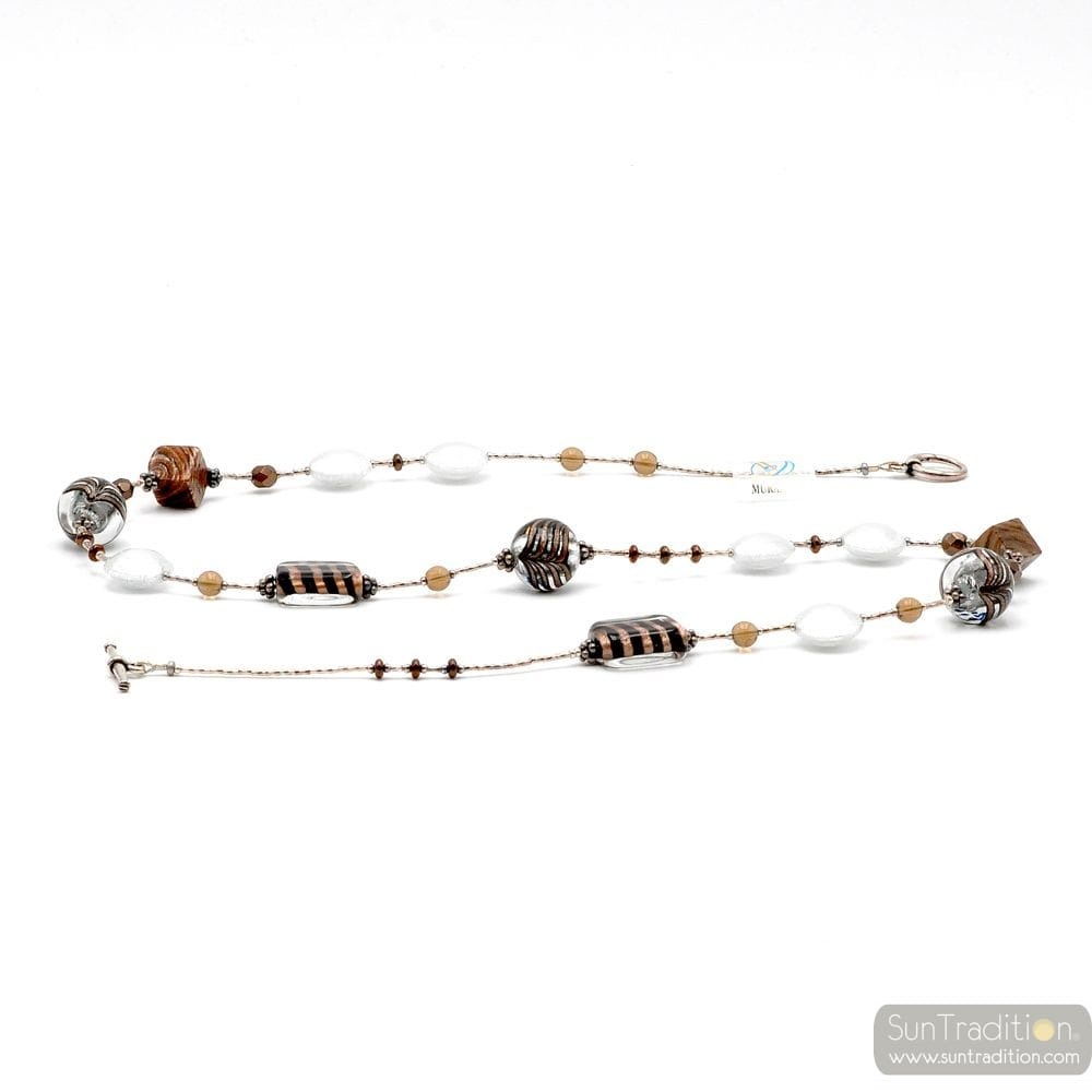 NECKLACE MURANO GLASS SILVER LONG BARIOLE BROWN