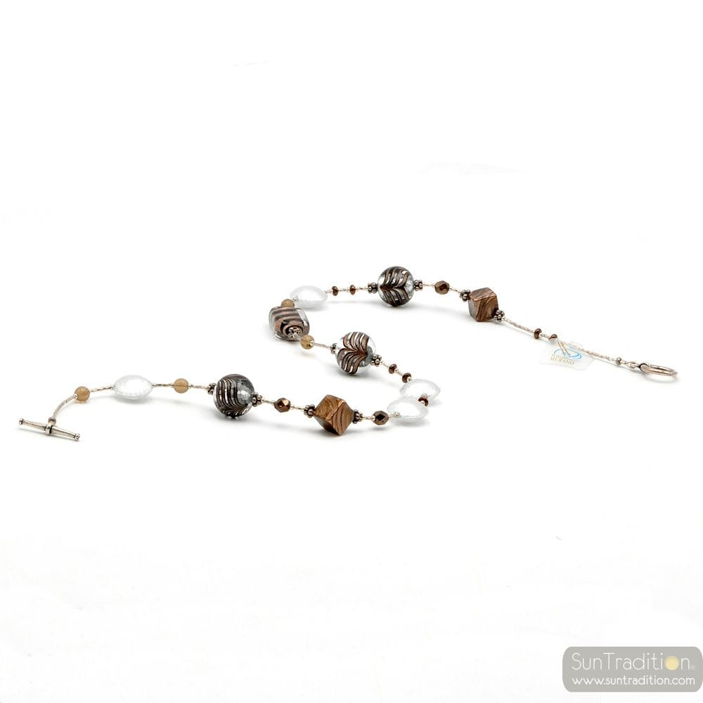NECKLACE JEWELRY MURANO GLASS SILVER BARIOLE BROWN