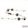 SILVER MURANO GLASS NECKLACE FENICIO COLORFUL BROWN