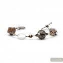 Fenicio silver - Silver and brown murano glass bracelet Venice