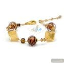 Mix chocolate - Brown genuineMurano glass bracelet from Venice Italy