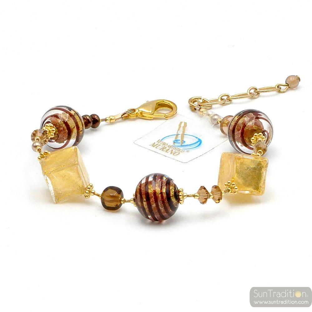 SCHOKOLADENFARBEN GOLD BROWN MURANO GLAS ARMBAND