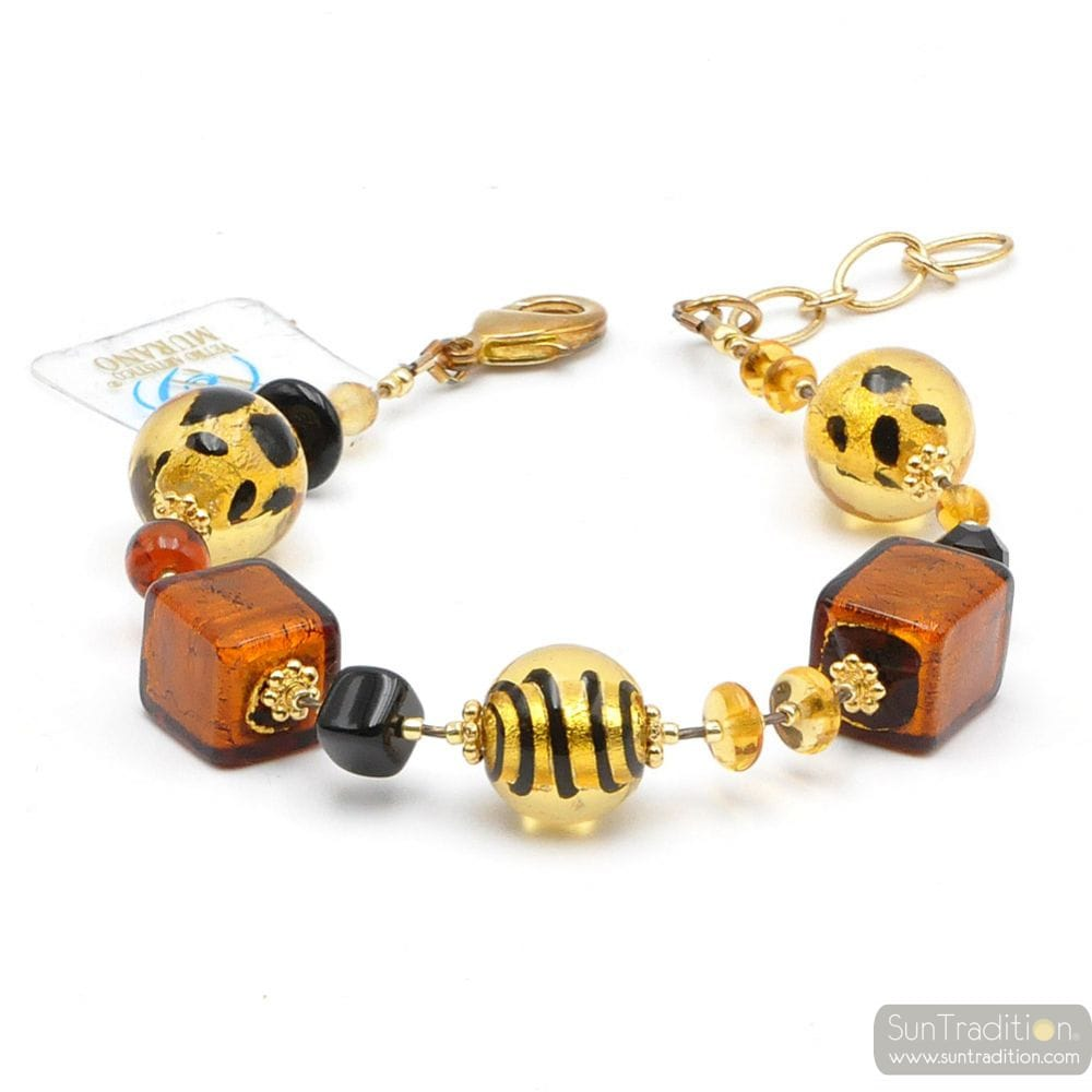 MIX WILD - REAL GOLD MURANO GLASS BRACELET VENICE ITALY