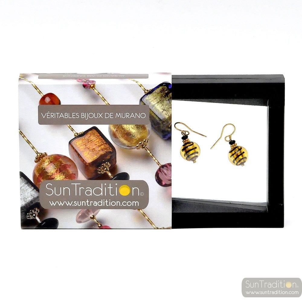 GOLD EARRINGS GENUINE MURANO GLASS