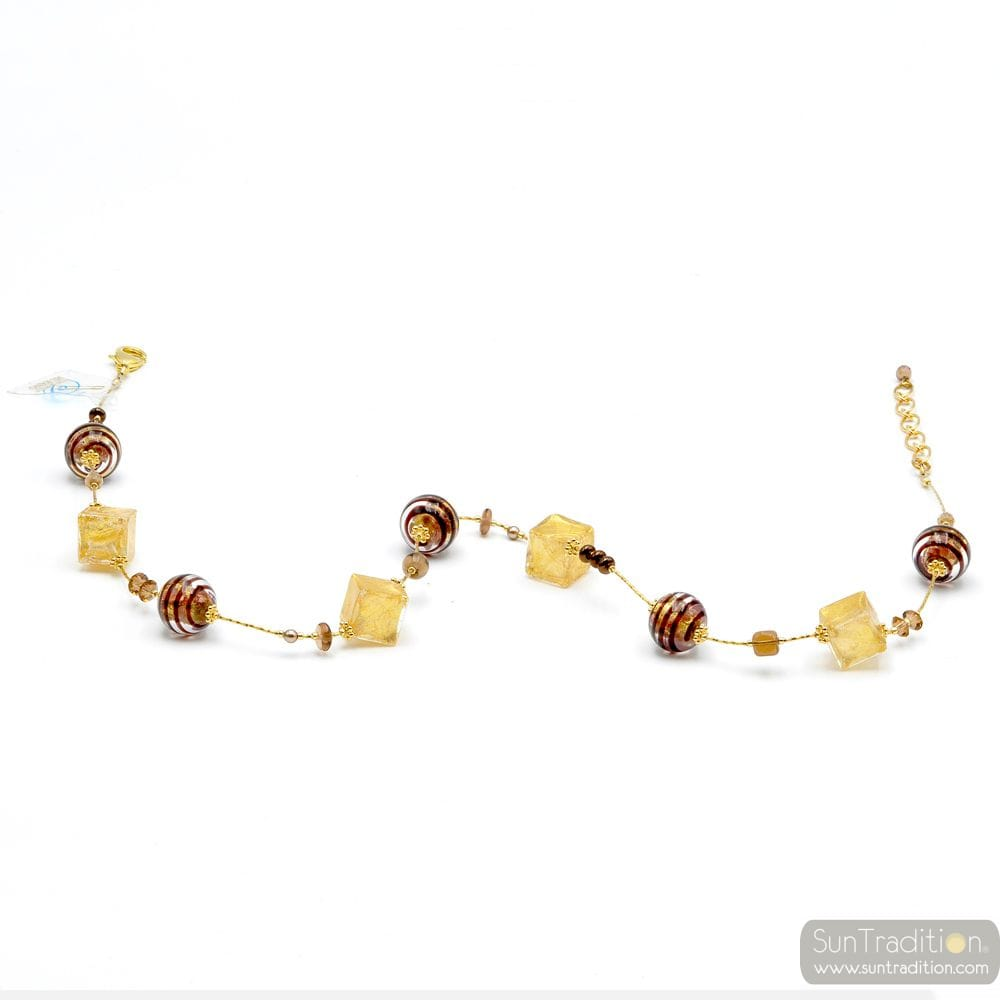 GOLD NECKLACE & CHOCOLATE GENUINE MURANO GLASS