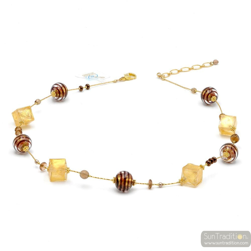COLLIER OR ET MARRON EN VERITABLE VERRE DE MURANO