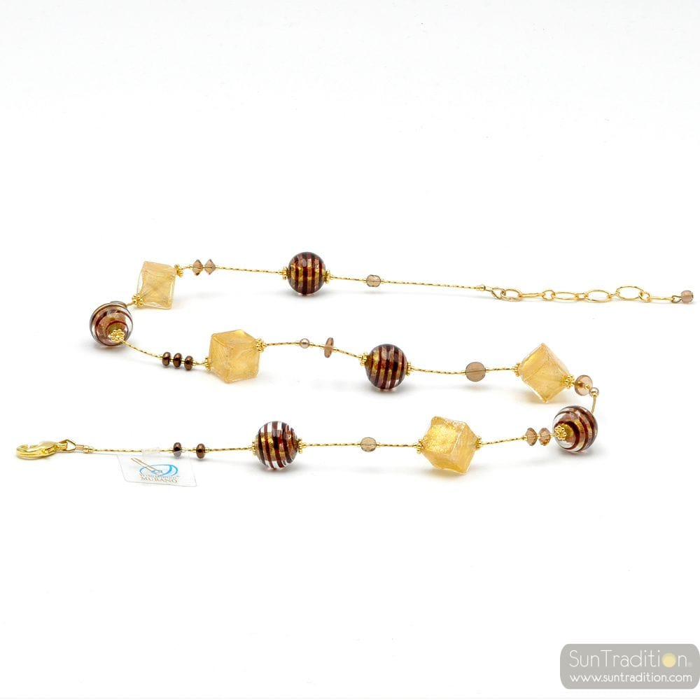 CHOCOLATE NECKLACE IN GENUINE MURANO GLASS GOLD AND BROWN