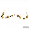 Amber and Gold Murano glass necklace real italian jewel from Venice
