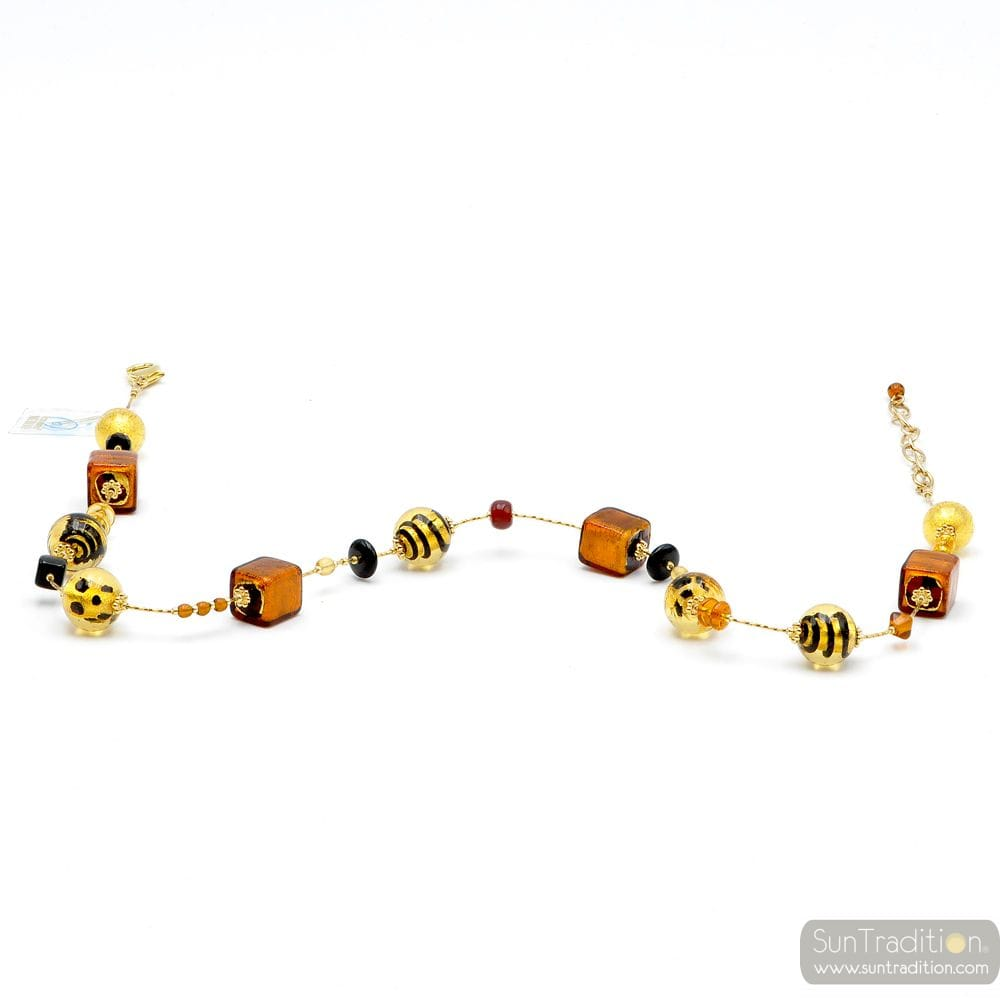 NECKLACE AMBER AND GOLD GENUINE MURANO GLASS