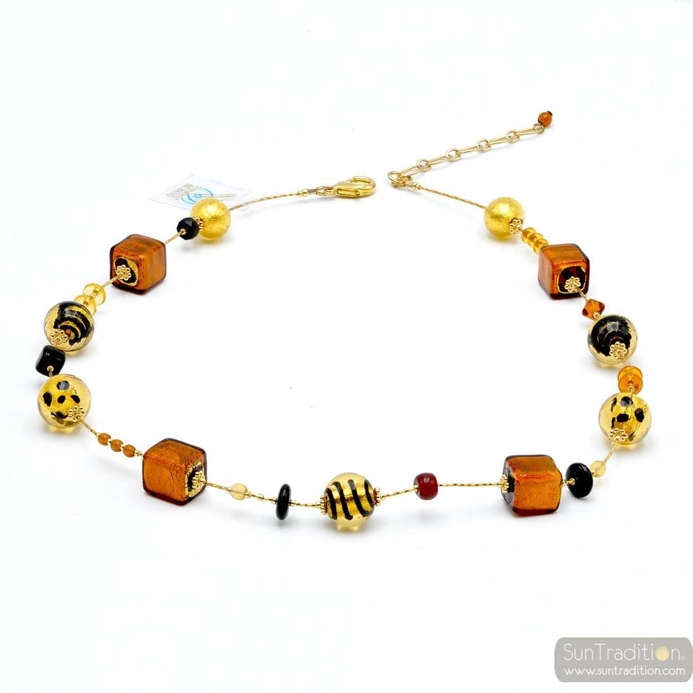 MIX TAWNY - GOLD MURANO GLASS NECKLACE GENUINE MURANO GLASS