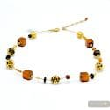 Mix wild - Gold Murano glass necklace real italian jewel from Venice