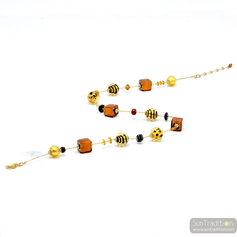 NECKLACE GOLD AND GENUINE MURANO GLASS OF VENICE