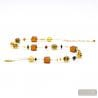 Gold and orange Murano glass necklace real italian jewel from Venice