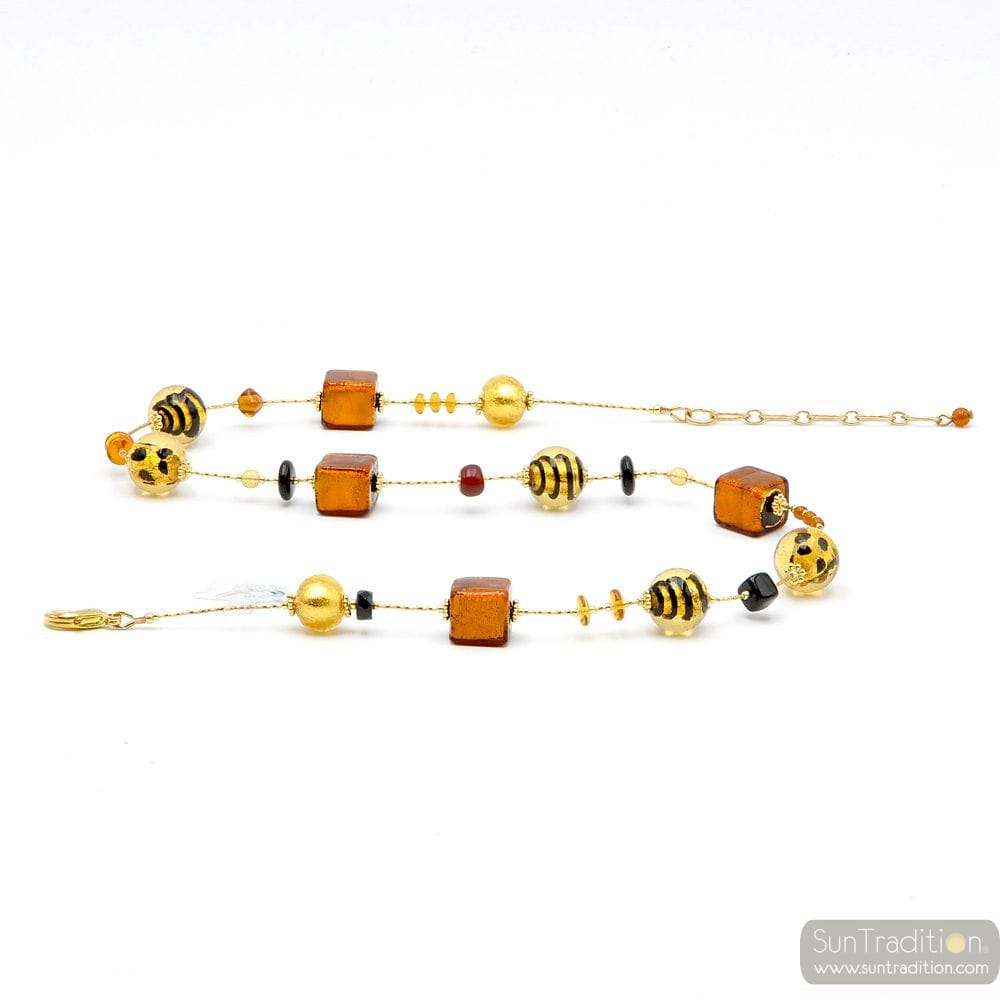 NECKLACE IN GOLD AND ORANGE IN REAL MURANO GLASS