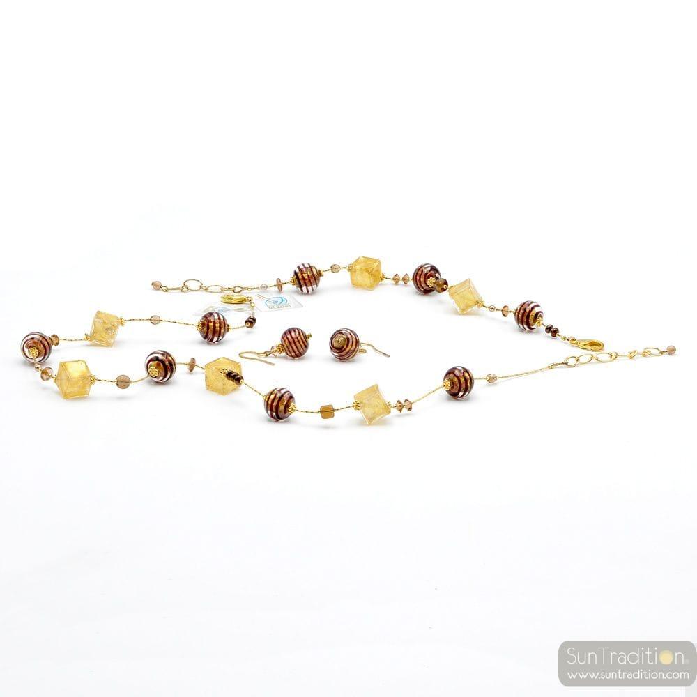 GOLD AND BROWN JEWELRY SET GENUINE MURANO GLASS