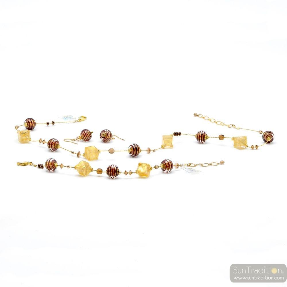 BROWN AND GOLD JEWELRY SET GENUINE MURANO GLASS