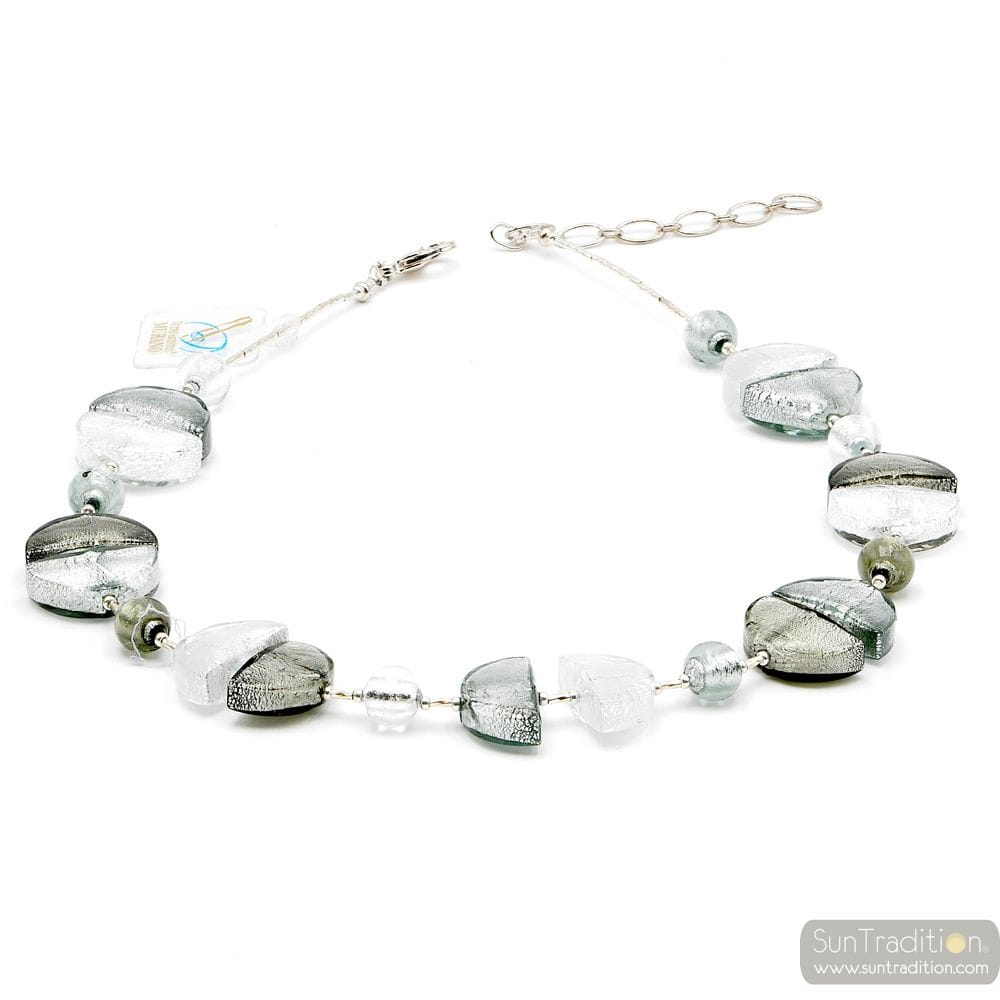 Colorado silver - Silver Murano glass necklace true italian jewellry from Venice