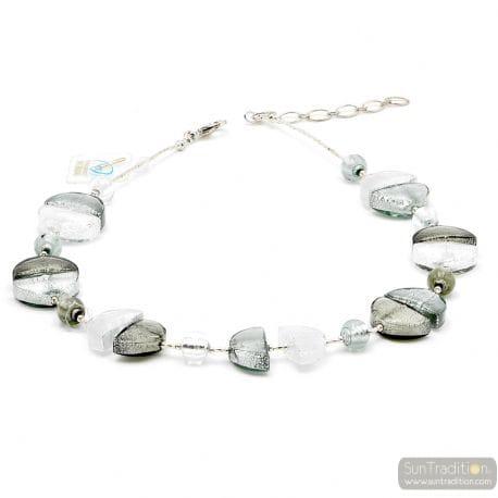 SILVER MURANO GLASS NECKLACE JEWEL GENUINE MURANO GLASS OF VENICE