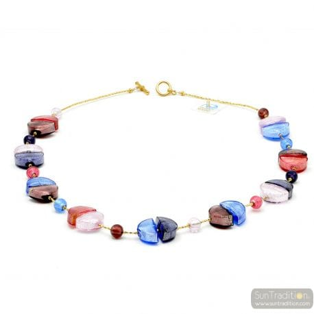 blue glass necklace - Blue and red Murano glass necklace real venitian beads of Italy