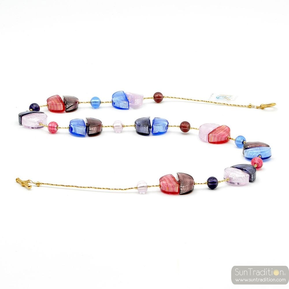NECKLACE LONG BLUE MURANO GLASS OF VENICE
