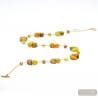 Long gold necklace - long gold Murano glass necklace genuine venitian jewellery Italy