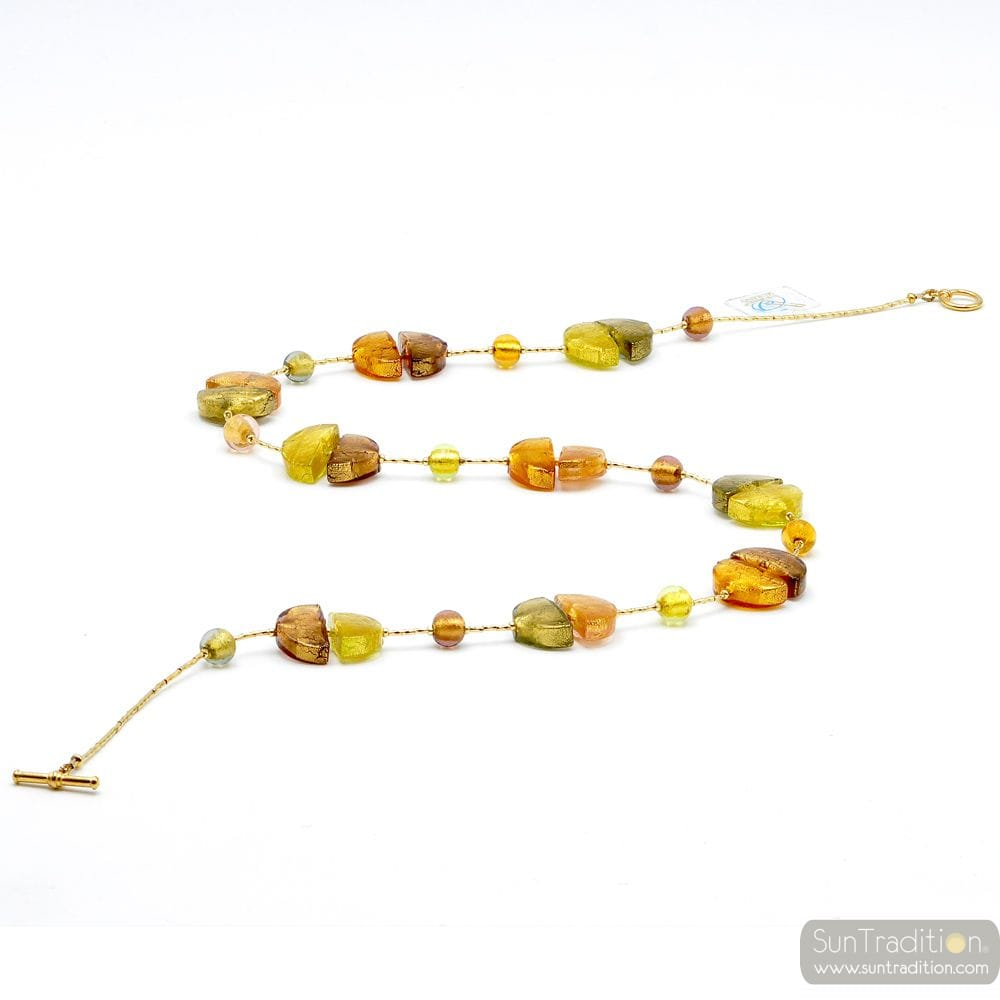 GOLD LONG GOLD NECKLACE-JEWELRY IS REFINED BY MURANO GLASS OF VENICE