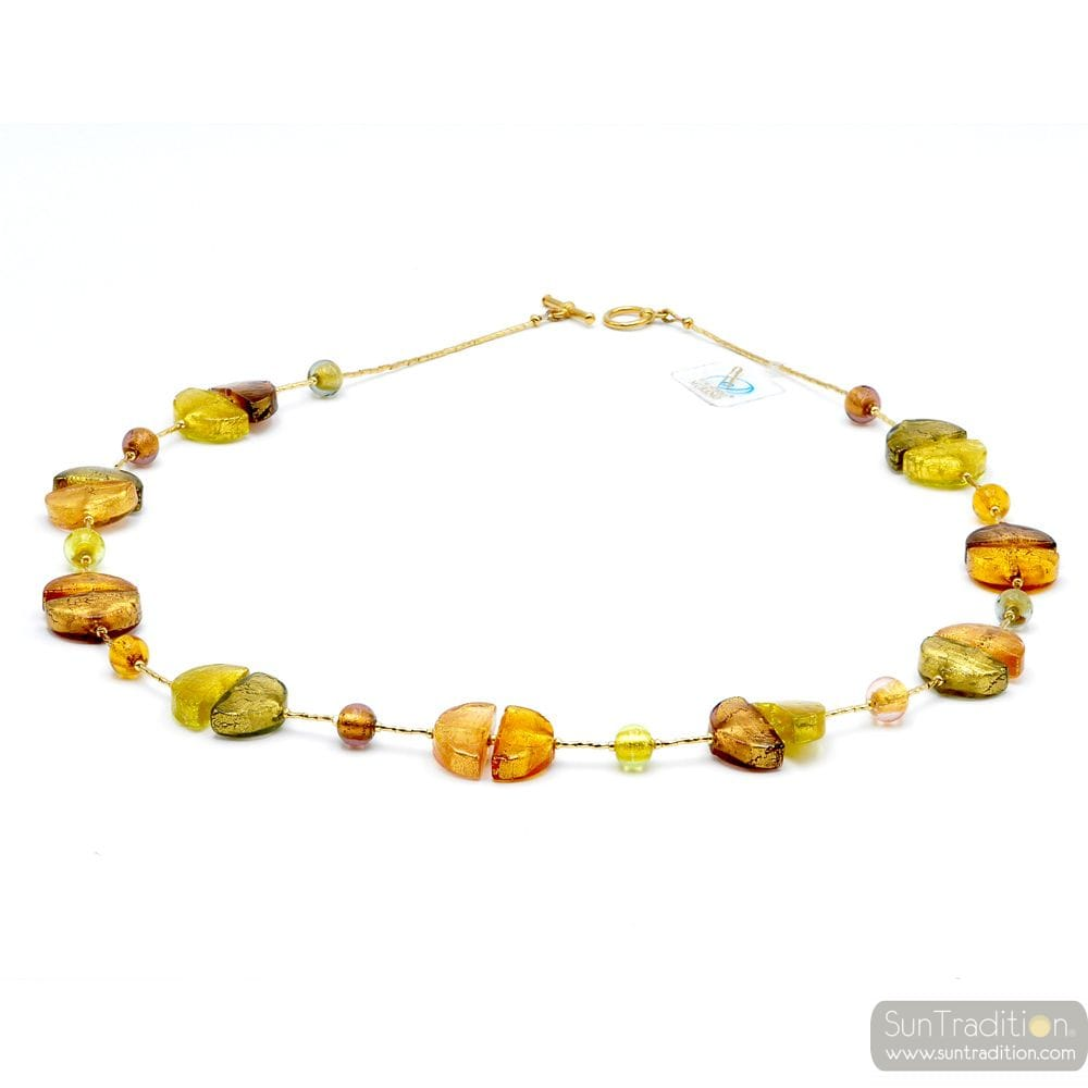 gold glass necklace - gold Murano glass collar true venitian beads of Italy