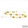 GOLD COLLAR - Long gold Murano glass necklace true venitian beads of Italy