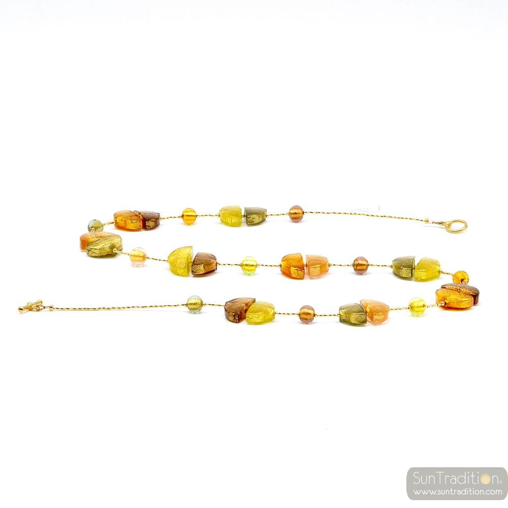 NECKLACE GOLD NECKLACE GOLD JEWELRY, MURANO GLASS OF VENICE