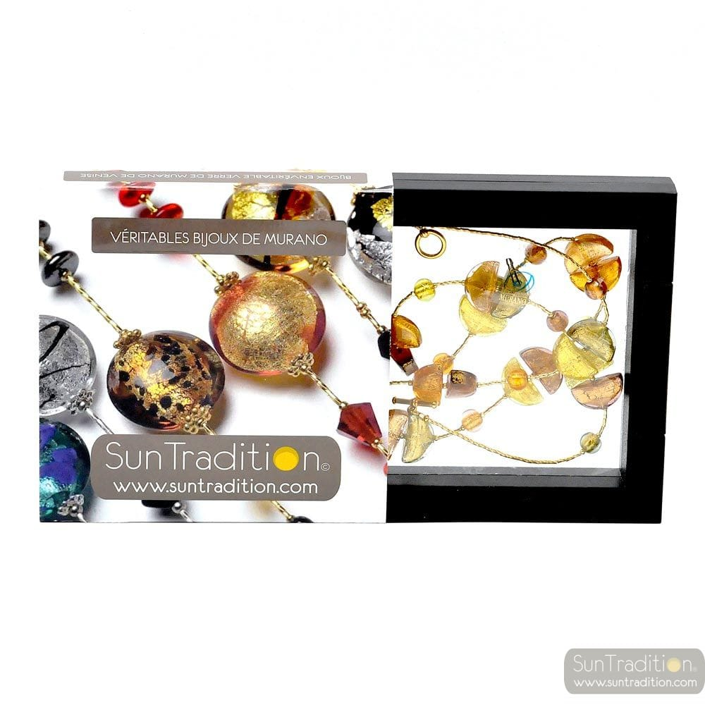 NECKLACE CHOKER GOLD - NECKLACE COLORADO GOLD NECKLACE LONG JEWELRY IS REFINED BY MURANO GLASS OF VENICE
