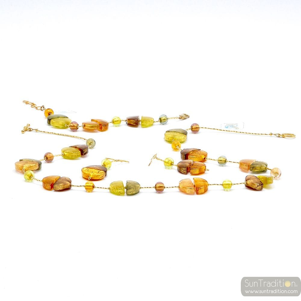 GOLD JEWELLERY SET IN REAL MURANO GLASS VENICE