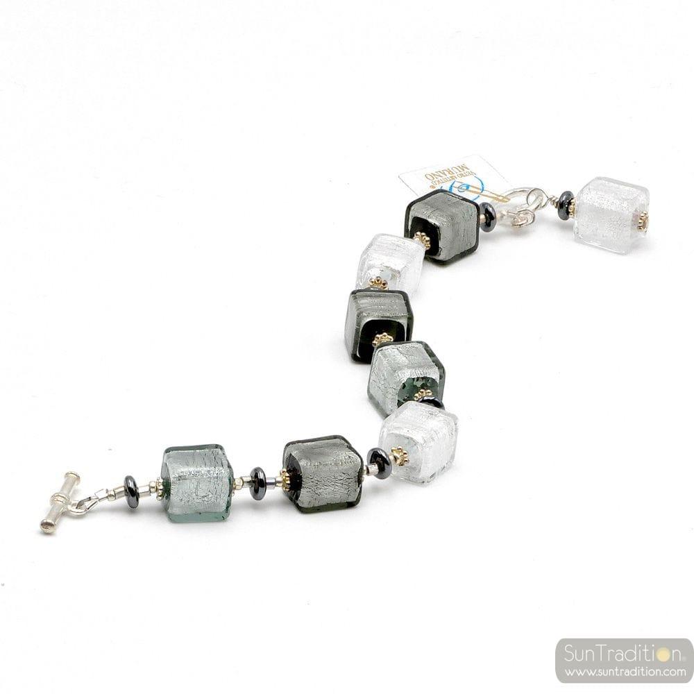 Silver Murano glass cubes bracelet genuine glass from Murano Venice