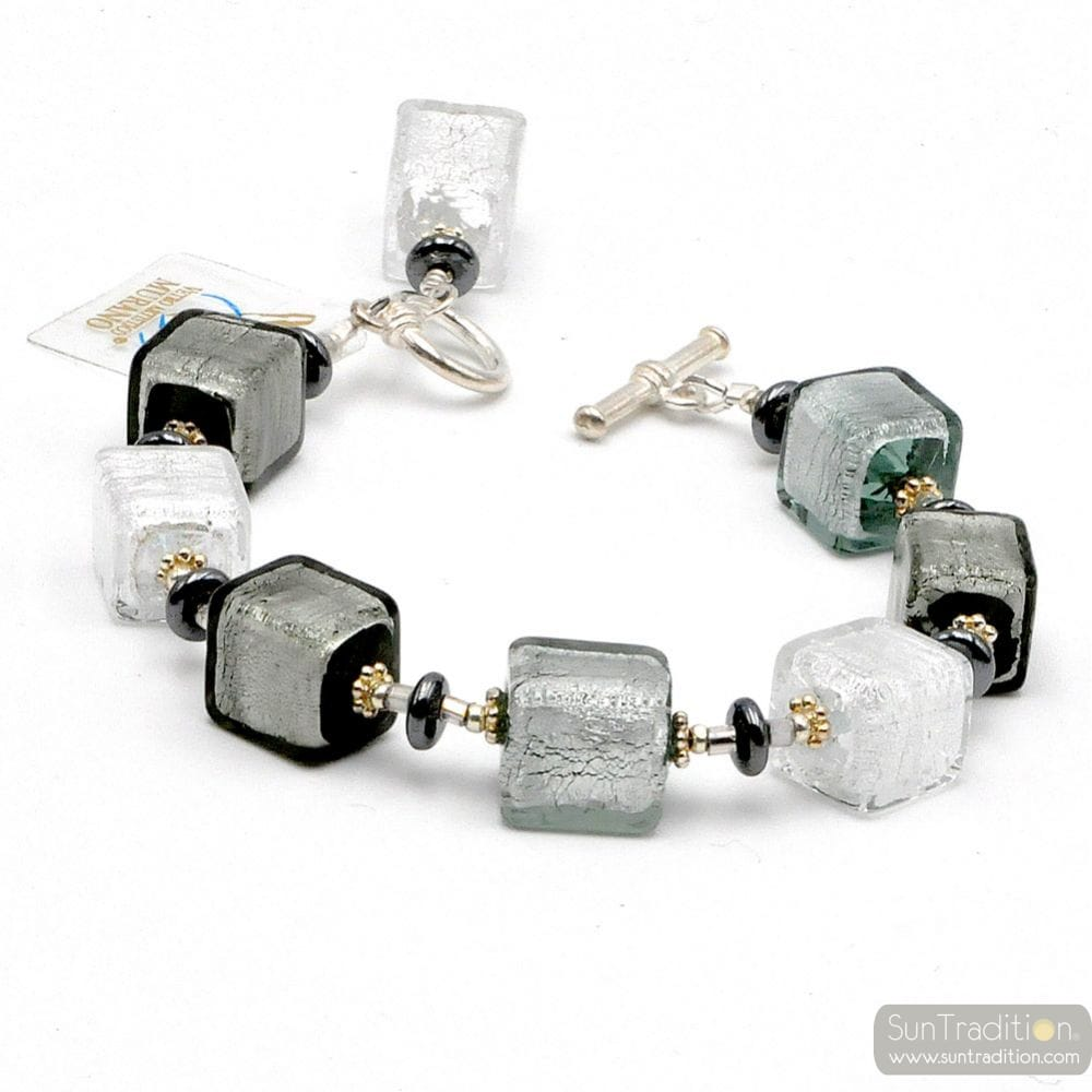 Silver cubes glass bracelet from Murano Venice