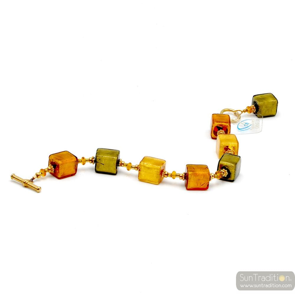 Gold Murano glass cubes bracelet real Murano glass from Venice
