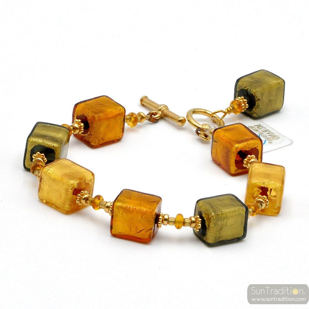 Gold cubes - Gold cubes bracelet real Murano glass from Venice