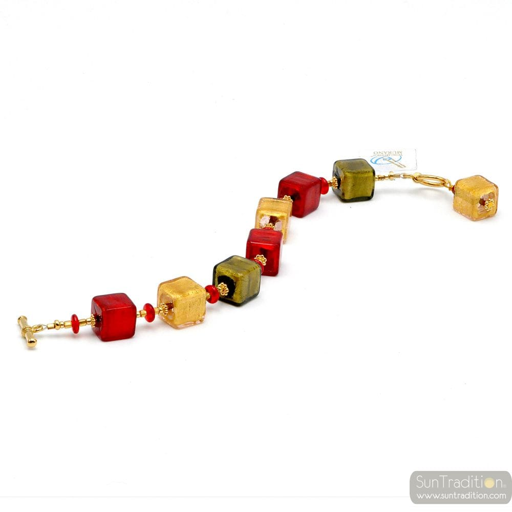 Red Murano glass bracelet genuine Murano glass Venice