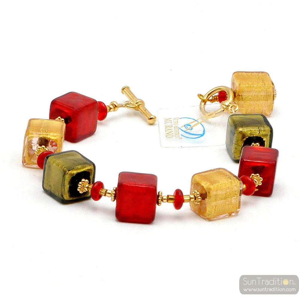 CUBES DEGRADES ROUGE ET OR - BRACELET ROUGE EN VERITABLE VERRE DE MURANO DE VENISE