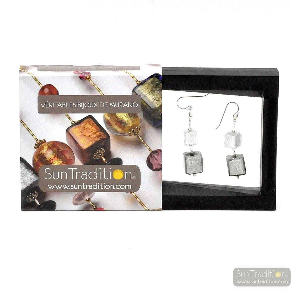 CUBES SILVER DEGRADED EARRINGS GENUINE MURANO VENICE GLASS