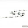 Silver Murano glass cube necklace genuine venitian jewellery of italy