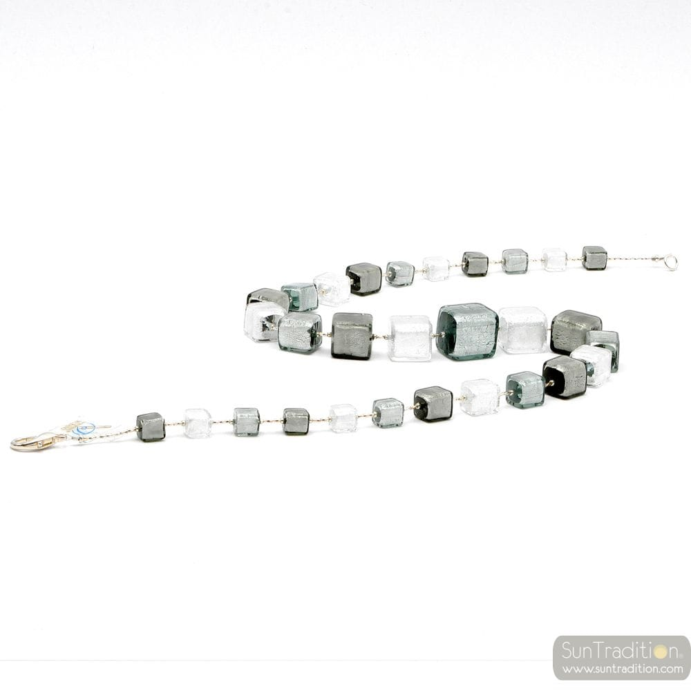 NECKLACE WITH SILVER CUBES IN GLASS OF MURANO-VENICE