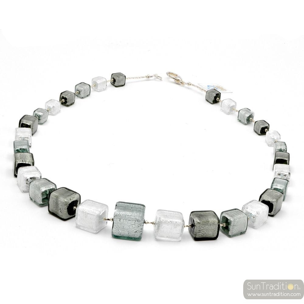 SILVER COLLAR - Silver Murano glass cube beads necklace genuine venitian jewellry of italy