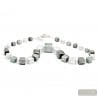 Silver Murano glass cubes collar genuine venitian jewellery of italy