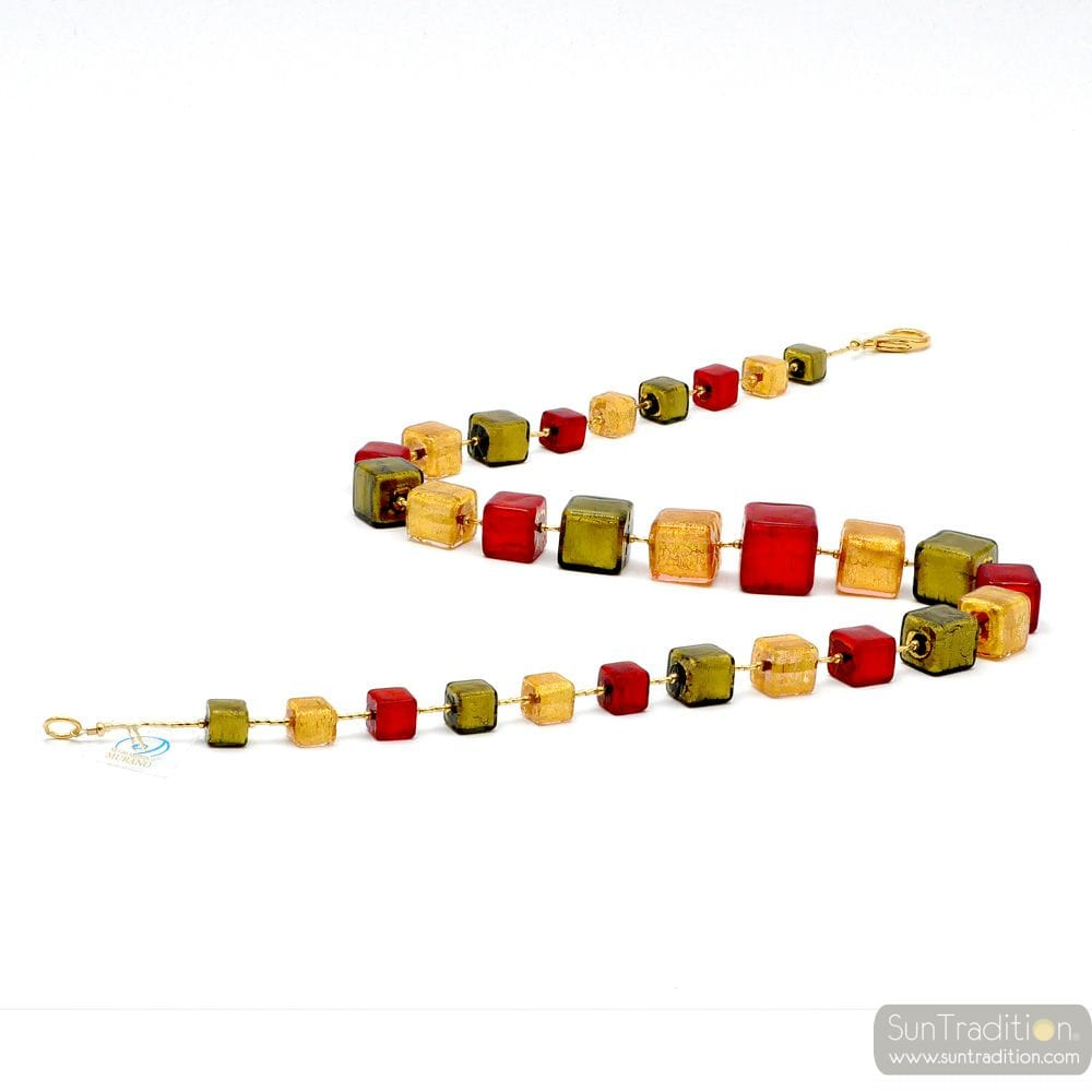 RED AND GOLD MURANO GLASS NECKLACE JEWELRY VENICE