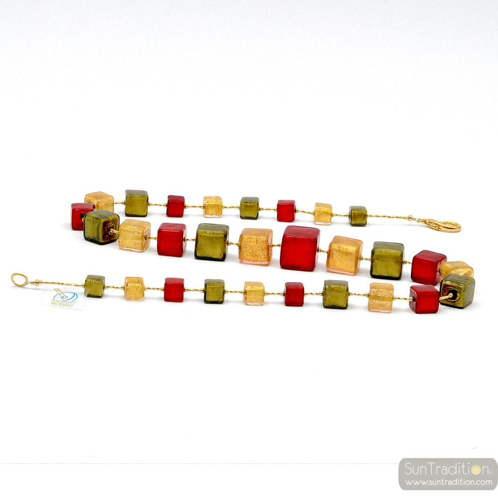 NECKLACE MURANO GLASS RED AND GOLD