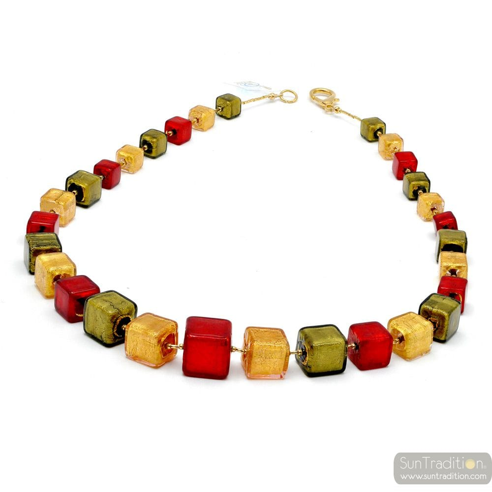Red and gold collar - Red and gold Murano cubes beads necklace true venitian jewel from Italy