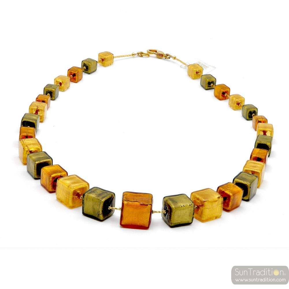 COLLIER CUBES DEGRADES VERT ET OR EN VERITABLE VERRE DE MURANO DE VENISE